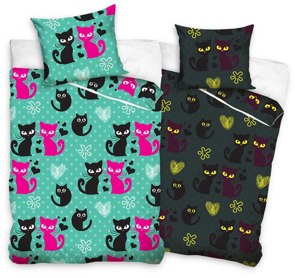Svítící povlečení Kočky Zelené