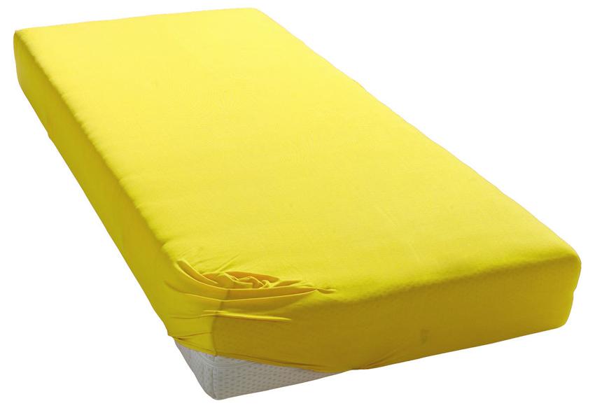Jersey prostěradlo středně žluté Rozměr: 200x220 cm