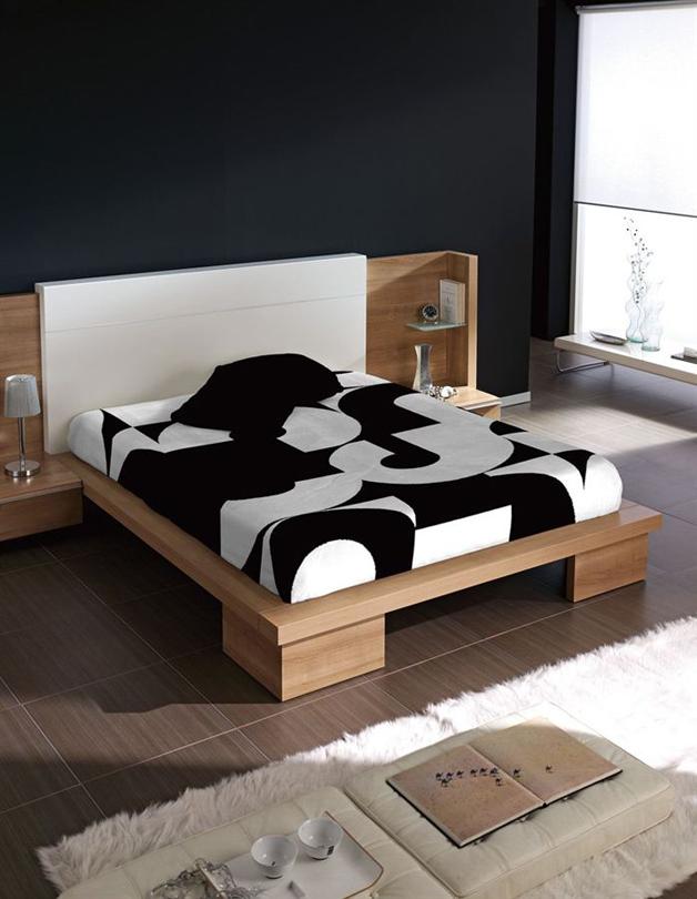 Španělská deka Piel Numeros Černá Rozměr: 220x240 cm