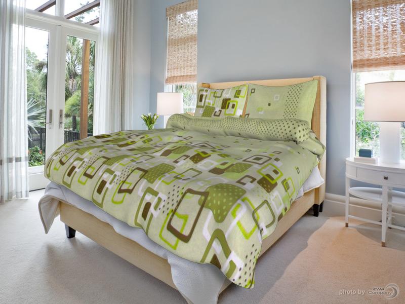 Bavlněný povlak na polštář Sandra - Zelené Rozměr: 70x90 cm
