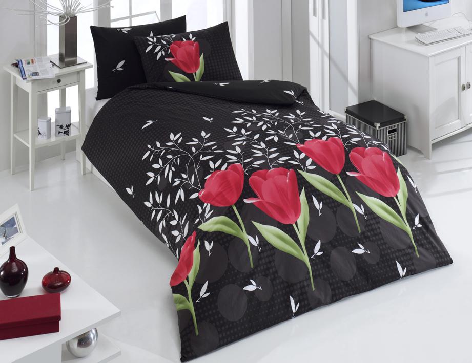 Bavlněné povlečení Vals Černé s červenými tulipány Rozměr: 140x200 + 70x90 + 50x70