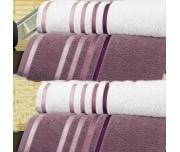 Ručníky a osušky Lumina - Bílé s vínovými proužky