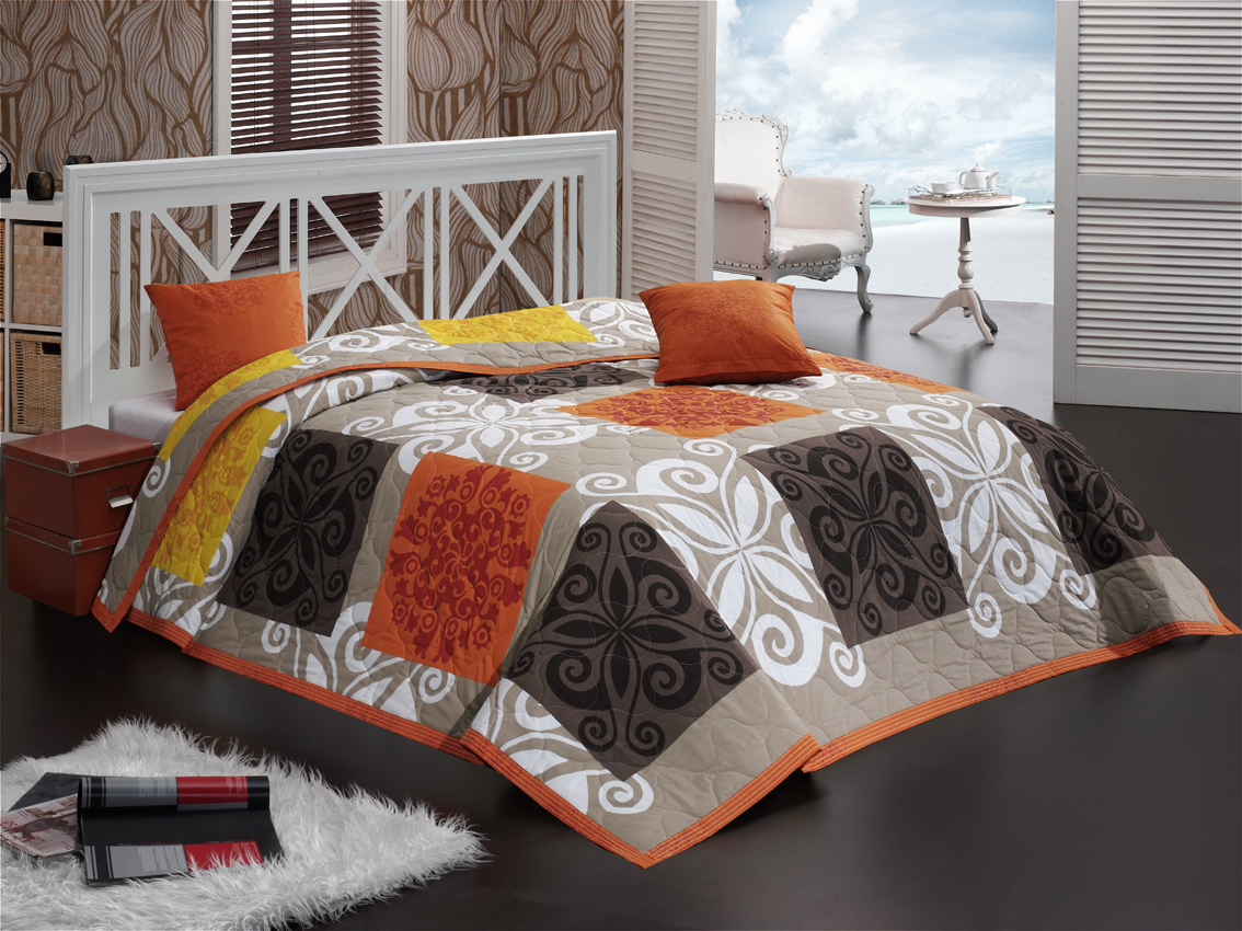 Přehoz Sedef Oranžový 220x240 + 2x 40x40 cm