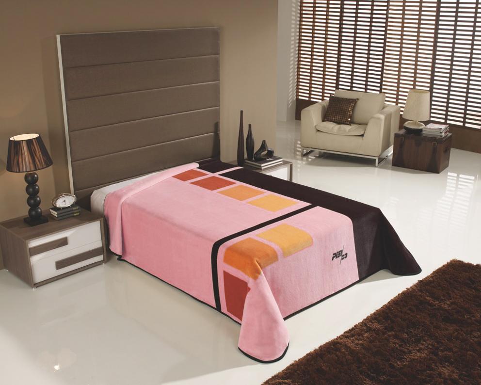 Španělská deka Piel Cuadrados - Růžová