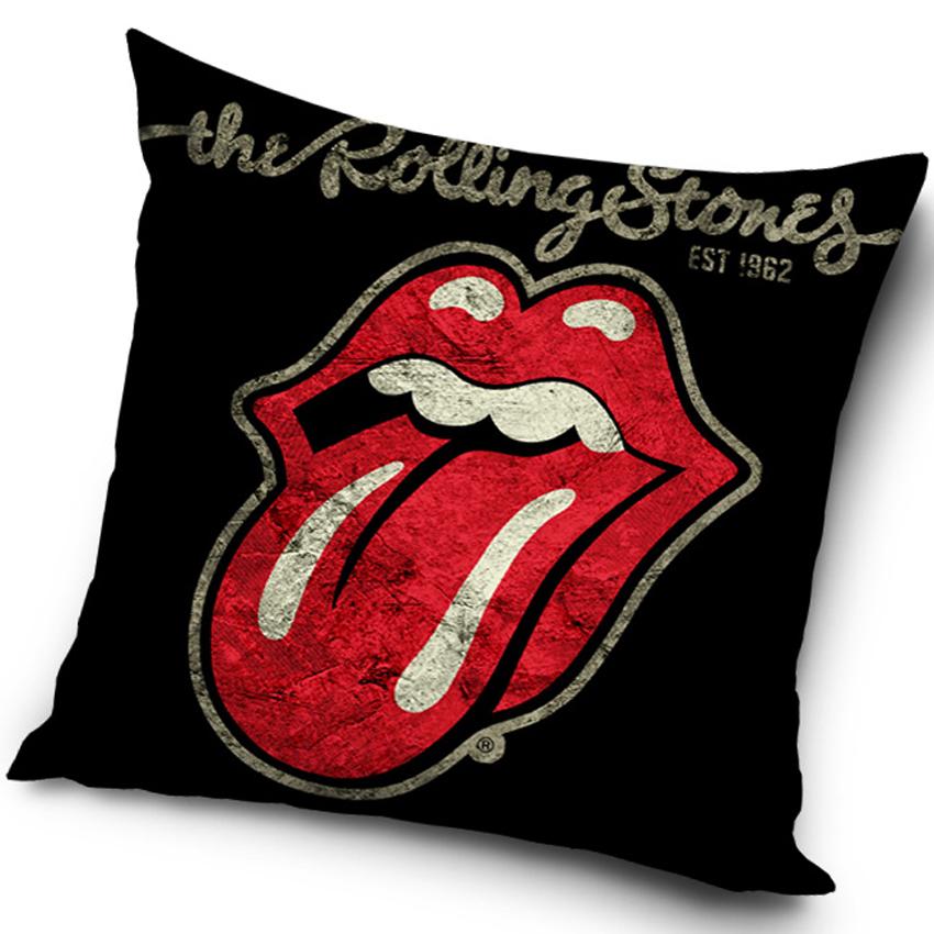 Plyšový polštářek Rolling Stones Black