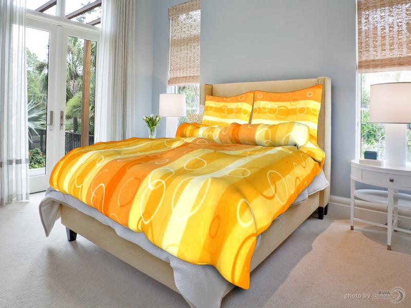 Bavlněné povlečení Klára - Oranžové Rozměr: 140x220 + 70x90