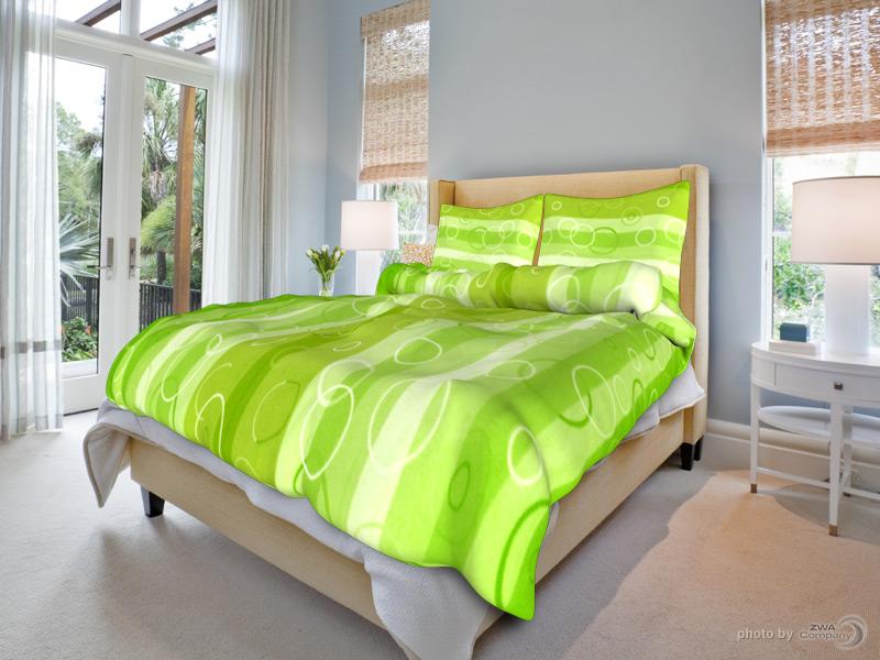 Bavlněné povlečení Klára - Zelené Rozměr: 140x200 + 70x90