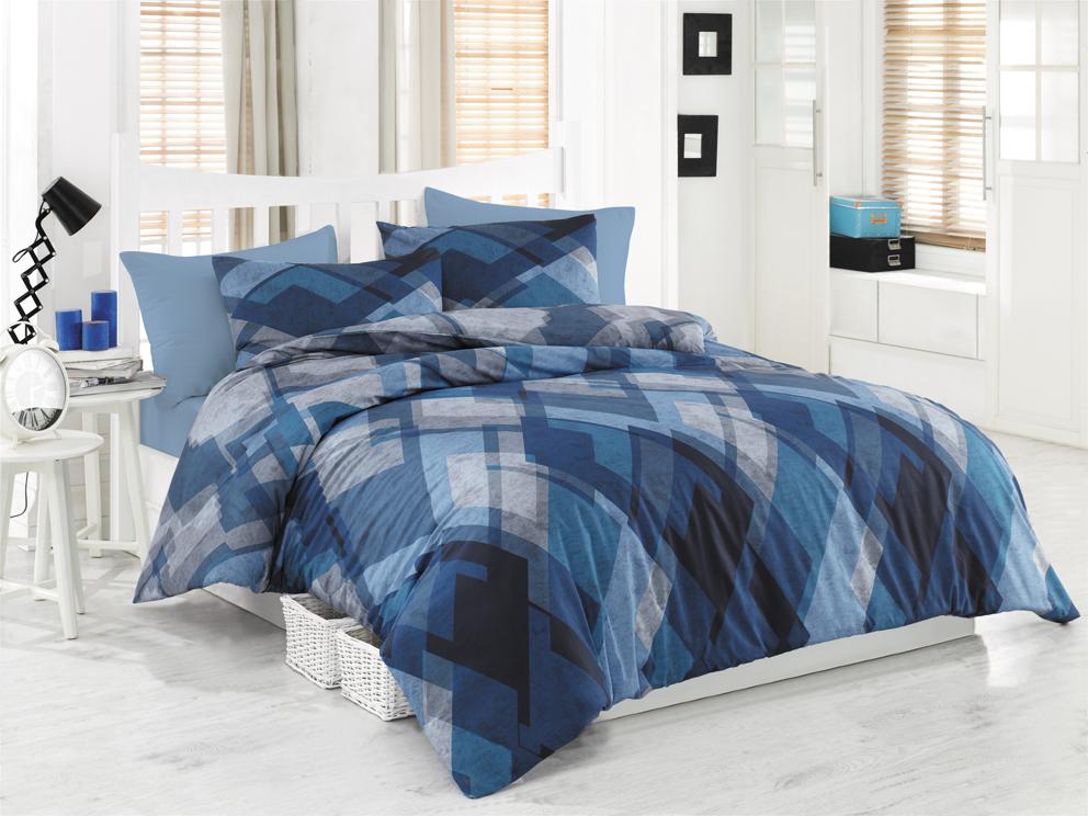 Bavlněné povlečení Mosaic Modré Rozměr: 140x220 + 70x90