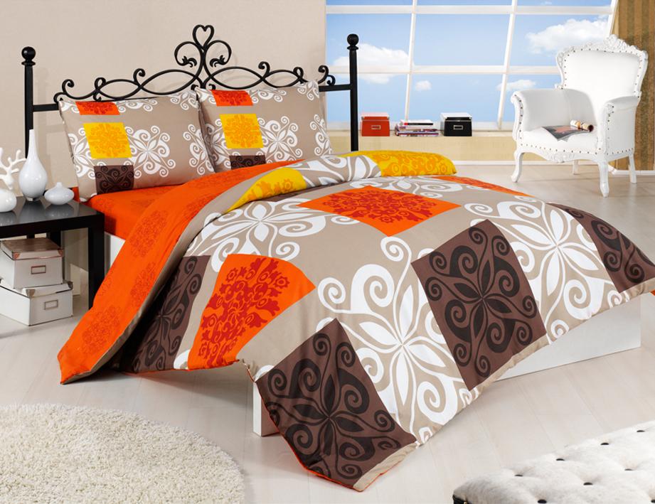 Bavlněné povlečení Sedef Oranžové Rozměr: 140x220 + 70x90