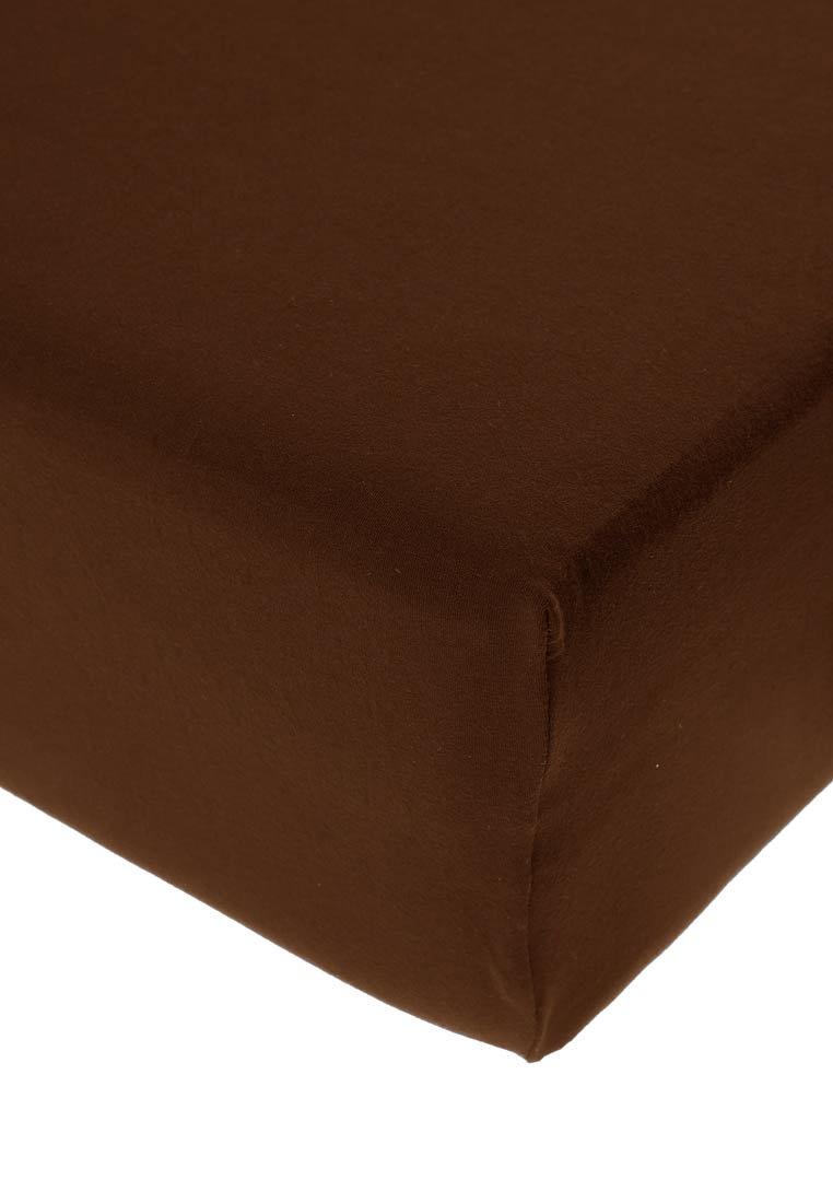 Jersey prostěradlo s elastanem tmavě hnědé