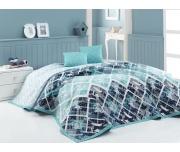 Přehoz na postel Riviéra Tyrkysový 220x240 + 2x 40x40 cm