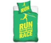 Perkálové povlečení Run Race Zelené