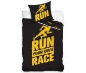Perkálové povlečení Run Race Černé