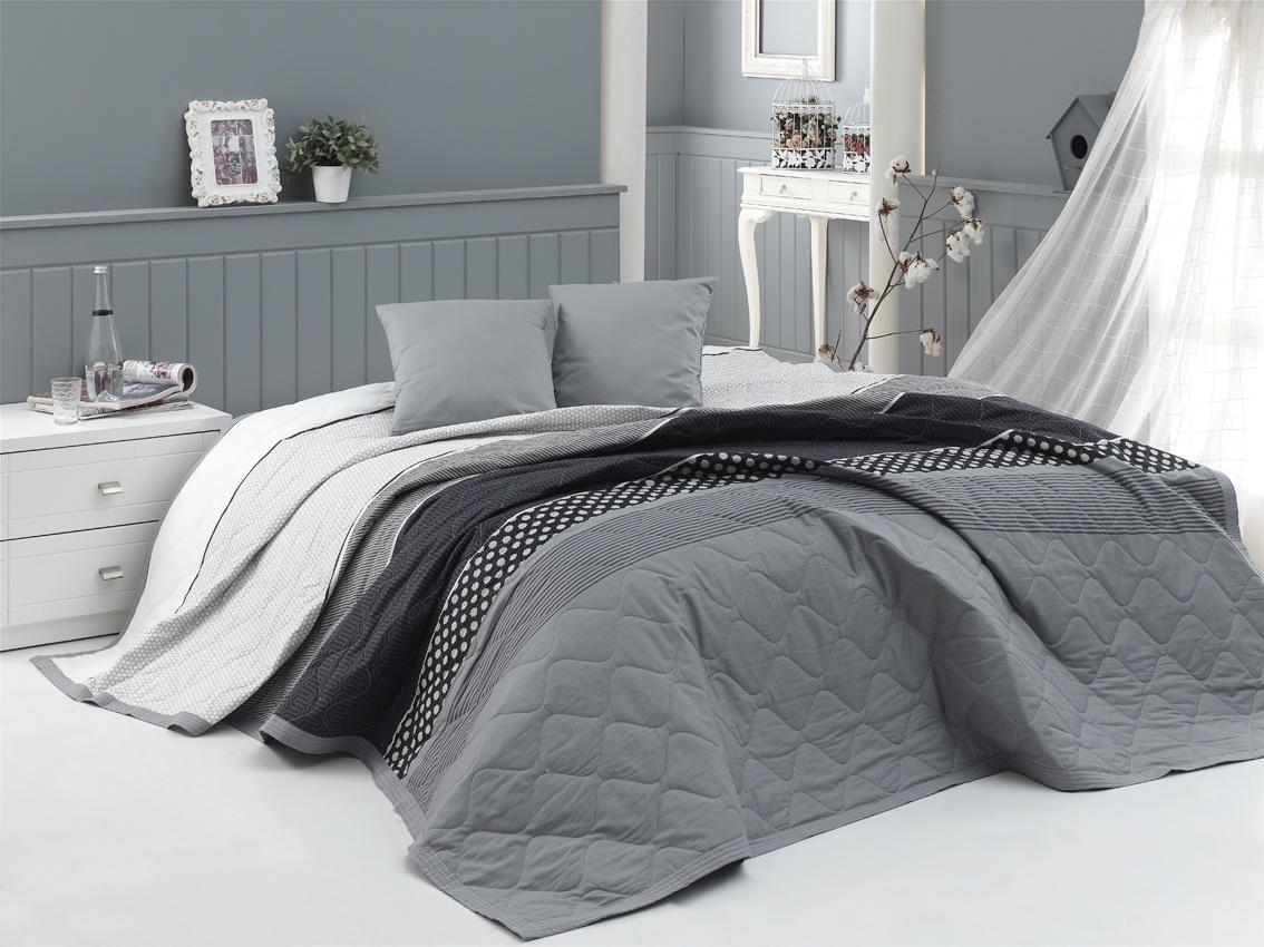 86af0afe4976 Přehoz na postel Eifel Šedý 220x240 + 2x 40x40 cm - Dokonalý domov