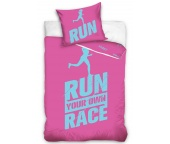 Perkálové povlečení Run Race Růžové