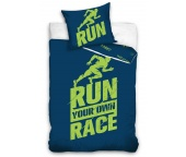 Perkálové povlečení Run Race Modré