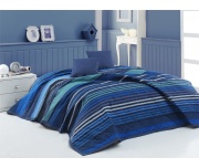 Přehoz na postel Marley Modrý 220x240 + 2x 40x40 cm